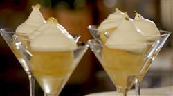 Γλυκές αλχημείες - Ραβανί με βελούδινη κρέμα μαστίχας, πραλίνα αμυγδάλου και μια μους πραλίνας με σοκολάτα